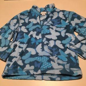 Garnet Hill 1/4 Zip Fleece Pullover Butterfly S